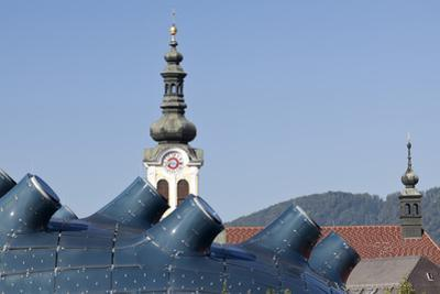 The Kunsthaus Graz in the Foreground with Traditional Baroque Bell Tower Behind Graz Austria