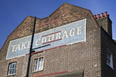 Wall Mural Inscribed with 'Take Courage' Slogan on an End of Terrace Brick House Built around 1807