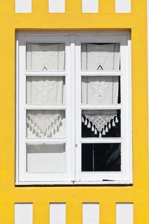 Window Detail of a Yellow Painted Beach House in Costa Nova, Beira Litoral, Portugal