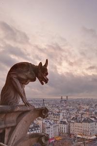 A Gargoyle on Notre Dame De Paris Cathedral Looks over the City, Paris, France, Europe by Julian Elliott