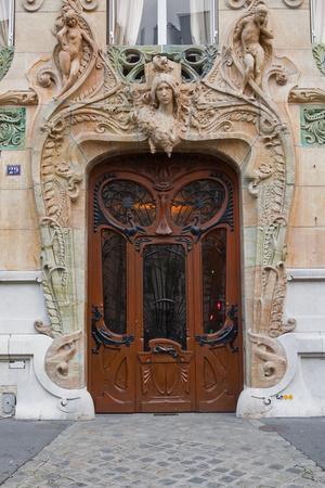 An Art Nouveau Doorway in Central Paris, France, Europe