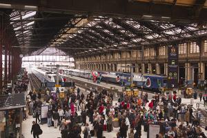 Crowds of People in the Gare De Lyon, Paris, France, Europe by Julian Elliott