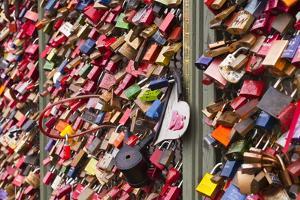 Love Locks on the Railway Bridge in Cologne, North Rhine-Westphalia, Germany, Europe by Julian Elliott