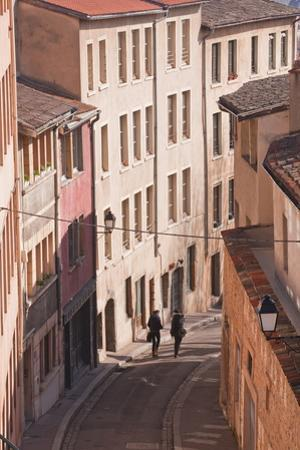 People Walking Through the Old Part of the City of Lyon, Lyon, Rhone-Alpes, France, Europe