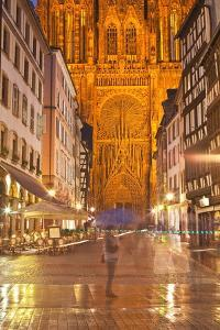 Rain Soaked Streets in Front of Strasbourg Cathedral, Strasbourg, Bas-Rhin, Alsace, France, Europe by Julian Elliott