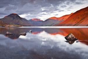 Scafell Range across Reflective Waters of Wast Water, Lake District Nat'l Pk, Cumbria, England, UK by Julian Elliott