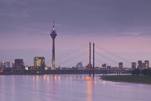 The Dusseldorf Skyline at Dusk, Dusseldorf, North Rhine-Westphalia, Germany, Europe by Julian Elliott