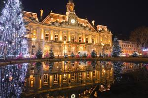 The Mairie (Town Hall) of Tours Lit Up with Christmas Lights, Tours, Indre-Et-Loire, France, Europe by Julian Elliott