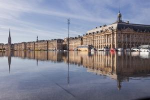 The Miroir D'Eau (Water Mirror) in the City of Bordeaux, Gironde, Aquitaine, France, Europe by Julian Elliott