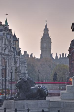 Trafalgar Square and Big Ben at Dawn, London, England, United Kingdom, Europe
