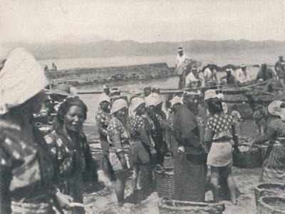 'Tai-no-ura - fishing boats, men and women with nets and baskets', c1900, (1921)