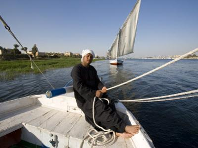 Feluccas Sailing on the Nile at Luxor, Egypt by Julian Love