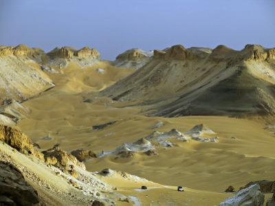 Two 4X4S Descend from the Escarpment on the Approach to Dakhla Oasis in the Western Desert, Egypt