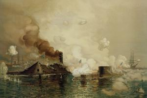 The 'Monitor' and the 'Merrimac', the First Fight Between Ironclads in 1862, Pub. by Louis Prang… by Julian Oliver Davidson