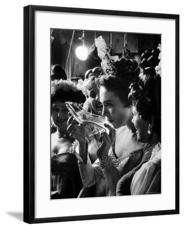 Julie Andrews Taking a Sip from the Glass Slipper During the TV Production of Cinderella-Gordon Parks-Framed Premium Photographic Print