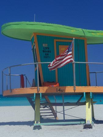 Art Deco Lifeguard Hut, South Beach, Miami, Florida, USA