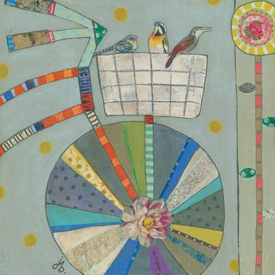 Bird Basket In Bicycle 42X42 by Julie Beyer