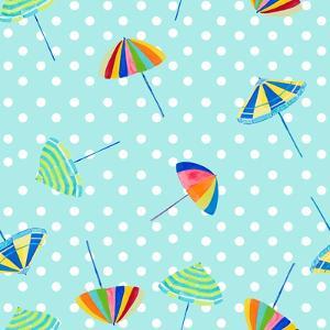 Beach Umbrellas on Dots by Julie DeRice