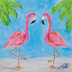 Fancy Flamingos III by Julie DeRice