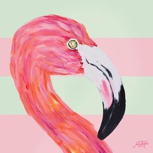 Flamingo on Stripes I by Julie DeRice