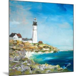 Lighthouse on the Rocky Shore I by Julie DeRice