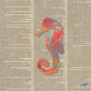 Sea Creatures on Newsprint IV by Julie DeRice