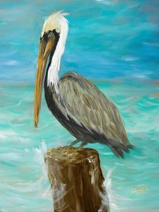 Single Pelican on Post by Julie DeRice