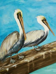 Two Pelicans on Dock Rail by Julie DeRice