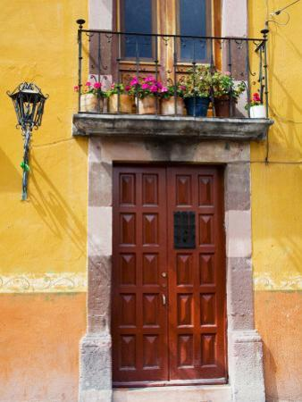 Carved Wooden Door and Balcony, San Miguel, Guanajuato State, Mexico