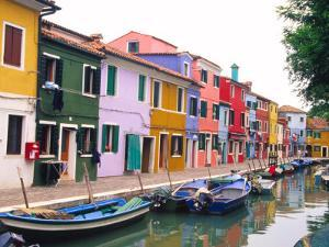 Colorful Building along Canal, Burano, Italy by Julie Eggers