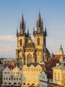 Czech Republic, Prague. Tyn Church in Old Town Square. by Julie Eggers