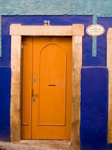 Door on Colorful Blue House, Guanajuato, Mexico by Julie Eggers