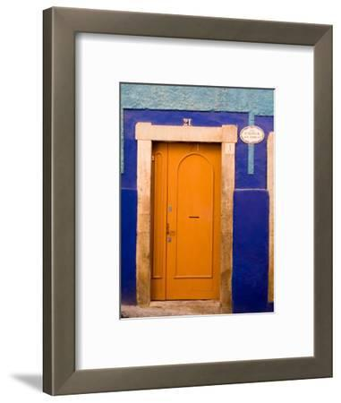 Door on Colorful Blue House, Guanajuato, Mexico