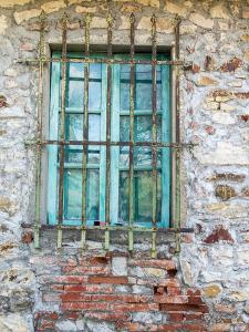 Europe, Italy, Tuscany. Turquoise Window on Brick Building by Julie Eggers