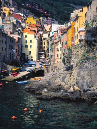 Harbor View of Hillside Town of Riomaggiore, Cinque Terre, Italy