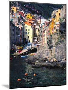 Harbor View of Hillside Town of Riomaggiore, Cinque Terre, Italy by Julie Eggers