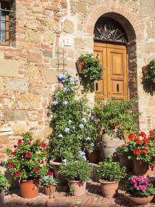 Italy, Tuscany. Flowers by House in the Medieval Town Monticchiello by Julie Eggers