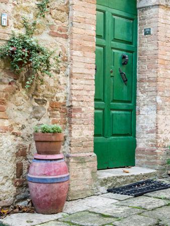 Italy, Tuscany, Monticchiello. Bright Green Door