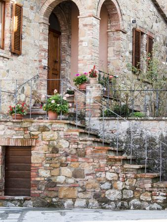 Italy, Tuscany, Monticchiello. House on a Lane in a Medieval Village