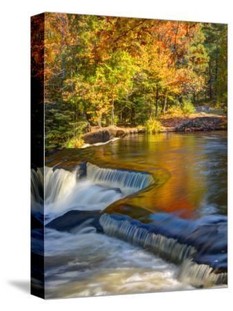 Michigan. Trees Reflect in Cascade Above Bond Falls, Ontonagon River