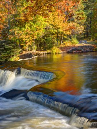Michigan. Trees Reflect in Cascade Above Bond Falls, Ontonagon River by Julie Eggers