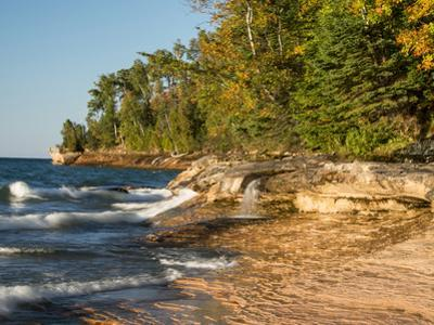 Michigan, Upper Peninsula. Waterfall Along the Edge of Lake Superior by Julie Eggers