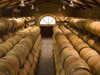 Oak Barrels in Wine Cellar at Groth Winery in Napa Valley, California, USA