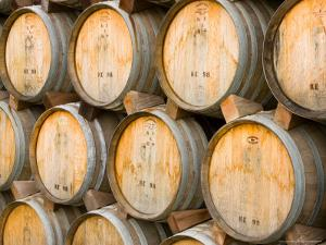 Oak Barrels in Winery, Sonoma Valley, California, USA by Julie Eggers