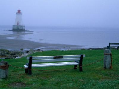 Sandy Point Lighthouse on a Foggy Morning, Nova Scotia, Canada by Julie Eggers