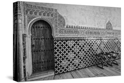 Spain, Andalusia, Alhambra. Ornate door and tile of Nazrid Palace.