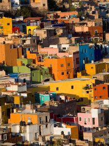 Steep Hill with Colorful Houses, Guanajuato, Mexico by Julie Eggers