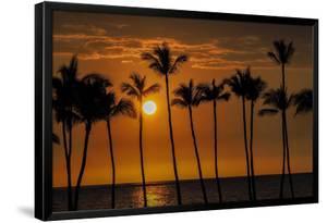 USA, Hawaii, Big Island. Sun setting on Anaehoomalu Bay. by Julie Eggers