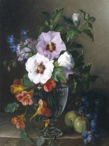Still Life of Hibiscus and Nasturtium in a Glass Vase by Julie Guyot