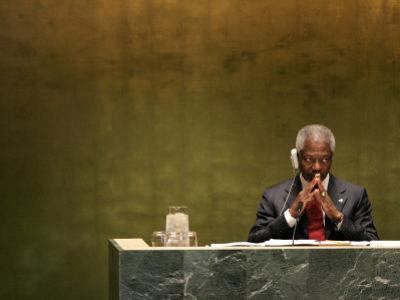 United Nations Secretary General Kofi Annan Listens to Statements Made by Members by Julie Jacobson